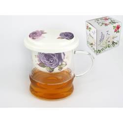 Kubek szklany z sitkiem porcelanowym i przykrywką