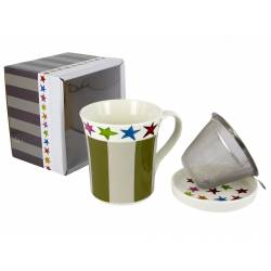Kubek z sitkiem i przykrywką Design Stars and stripes